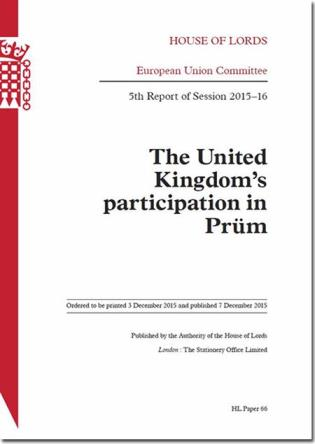 Cover image for the book United Kingdom's Participation In Prüm: House Of Lords Paper 66 Session 2015-16