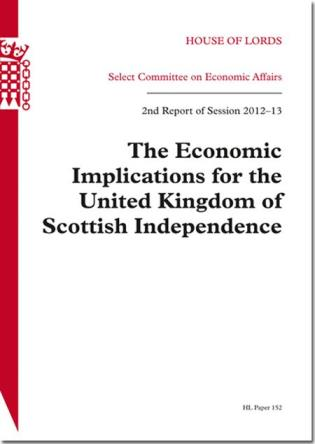 Cover image for the book Economic Implications For The United Kingdom Of Scottish Independence: House Of Lords Paper 152 Session 2012-13