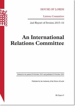 Cover image for the book An International Relations Committee: 2nd Report Of Session 2015.16: House Of Lords Paper 47 Session 2015-16