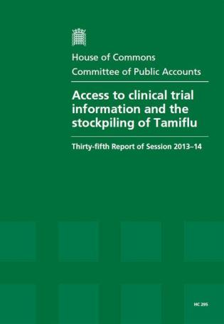 Cover image for the book Access To Clinical Trial Information And The Stockpiling Of Tamiflu: HC 295