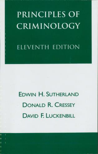 Cover image for the book Principles of Criminology, Eleventh Edition
