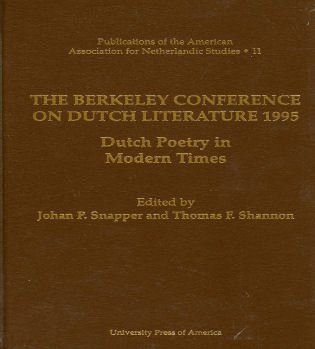 Cover image for the book The Berkeley Conference on Dutch Literature- 1995: Dutch Poetry in Modern Times