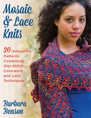 Cover image for the book Mosaic & Lace Knits: 20 Innovative Patterns Combining Slip-Stitch Colorwork and Lace Techniques