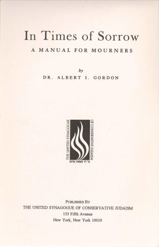 Cover image for the book In Times of Sorrow Manual