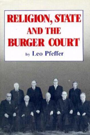 Cover image for the book Religion, State and the Burger Court