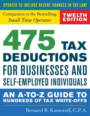 Cover image for the book 475 Tax Deductions for Businesses and Self-Employed Individuals: An A-to-Z Guide to Hundreds of Tax Write-Offs, Twelveth Edition