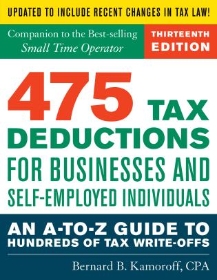 Cover image for the book 475 Tax Deductions for Businesses and Self-Employed Individuals: An A-to-Z Guide to Hundreds of Tax Write-Offs, Thirteenth Edition