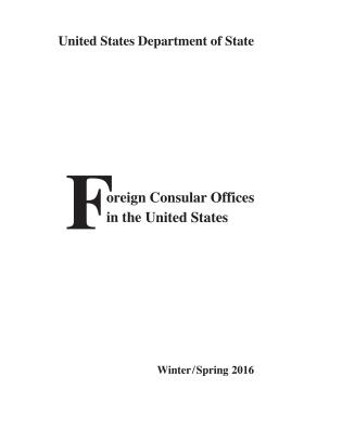 Cover image for the book Foreign Consular Offices in the United States: Winter/Spring 2016