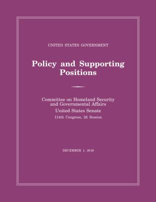 Cover image for the book United States Government Policy and Supporting Positions (Plum Book) 2016