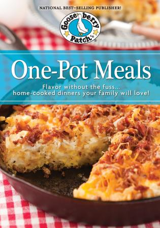 Cover image for the book One Pot Meals Cookbook: Flavored without the Fuss…Home-Cooked Dinners Your Family Will Love!