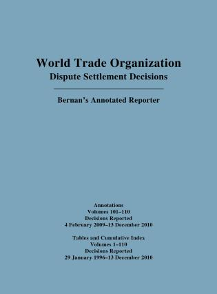 Cover image for the book WTO Cumulative Index Annotations Vols. 100-110/ Tables and Cumulative Index for Vols. 1-110