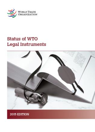 Cover image for the book Status Of WTO Legal Instruments: Complete Update 2015
