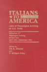 link and cover image for the book Italians to America: April 1901 - September 1901: Lists of Passengers Arriving at U.S. Ports, Volume 17